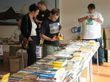 Michael Pargman and others at the book sale